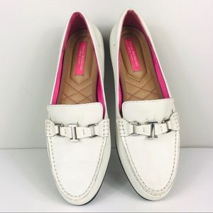 Isaac Mizrahi White Buckle Leather Loafers